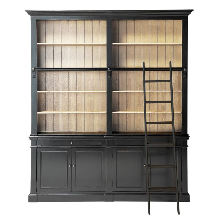 Solid wood bookcase with ladder in black W 201cm Versailles
