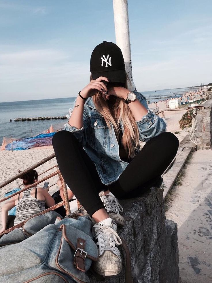 "classic ""cool girl"" - black skinnies, adidas, white tee, denim jacket (or chambray) baseball cap"