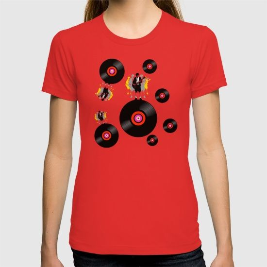 'Angus on Vinyl' - T-shirt @society6 #popart #records #vinylfan #vinyladdict #vinylporn #angus #homage #rocklegend #gibsonguitar #acdcfans #acdc #fashion #rockfans #rockfashion #music #discs #girlsfashion #fashiontees