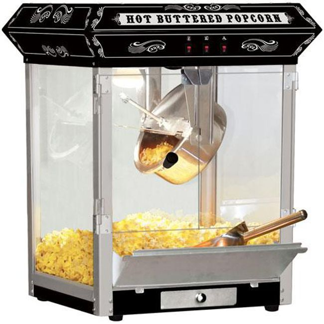 <li>Pop some fresh, tasty popcorn with this hot oil popcorn machine</li> <li>Carnival-style popcorn popper features an 8-ounce stainless steel hot oil kettle</li> <li>Built-in heating lamp in this machine keeps your popcorn fresh</li>
