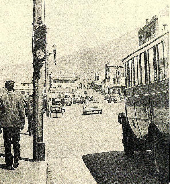 Cape Town's first traffic light. | The city's first three traffic lights were installed in January 1932.This one is in Darling street near the Castle. They were promptly named Robots. a uniquely South African term which has remained through the years.
