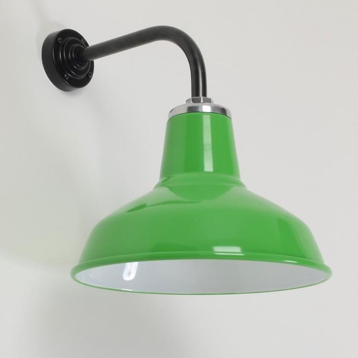 The Classic Factory Shade Wall Light -Pea Green- - Classic vitreous enamelled factory shades on wall brackets. Pea Green (RAL 6018). Manufactured entirely in the UK in heavy gauge hand-spun steel with vitreous enamel finish and bespoke tubular steel wall arms in black finish. E27 Lampholder...