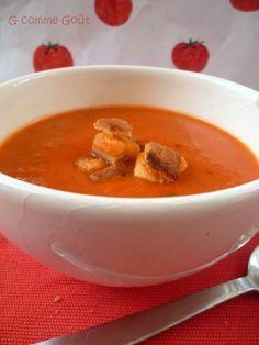 soupe de tomates au basilic et ses croutons