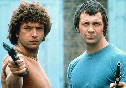 The Professionals. Doyle on the left (the lovely Martin Shaw) and Bodie on the right (Lewis Collins).