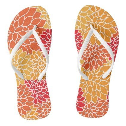 Colorful Floral Flip Flops - patterns pattern special unique design gift idea diy