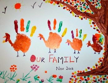 Handprint Turkey Family - Things to Make and Do, Crafts and Activities for Kids - The Crafty Crow
