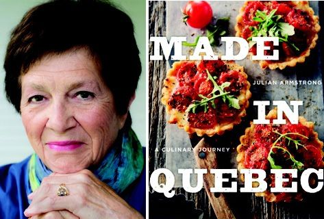 Photo of Julian Armstrong and the front cover of her cookbook, Made in Quebec