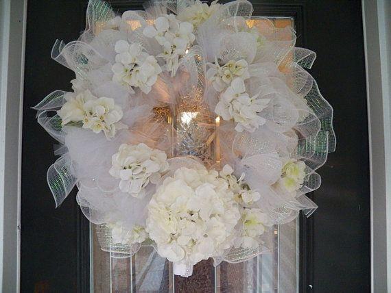 White Deco Mesh Wedding Wreath, Bridal Shower Wreath, Decoration, Door Hanger Ready to ship on Etsy, $119.99