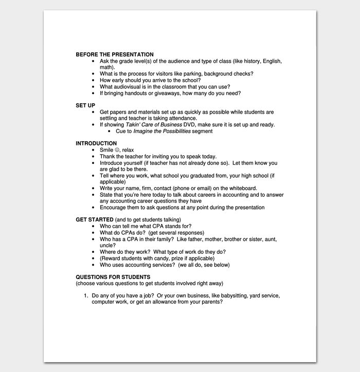 Script Outline Example For PDF Outline Templates