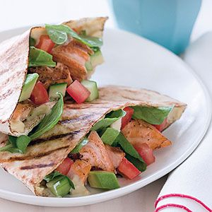 Grilled Salmon Avocado Pitas Recipe - can't go wrong with those ingredients: Pitas Recipe, Grilled Salmon, Salmon Avocado, Pita Recipes, Dinner Recipes, Food Drink, Avocado Pitas