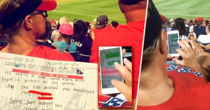 Delatan a esposa infiel mensajeando a un lado de su marido en partido de beisbol - http://soynn.com/2015/07/30/delatan-a-esposa-infiel-mensajeando-a-un-lado-de-su-marido-en-partido-de-beisbol/