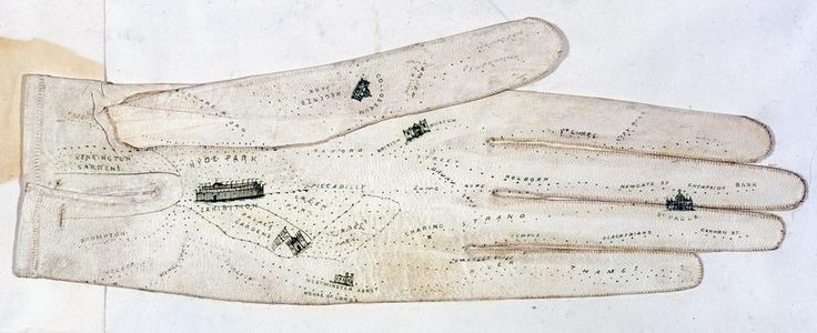 Tourist map of London painted on a leather glove. Ca 1851