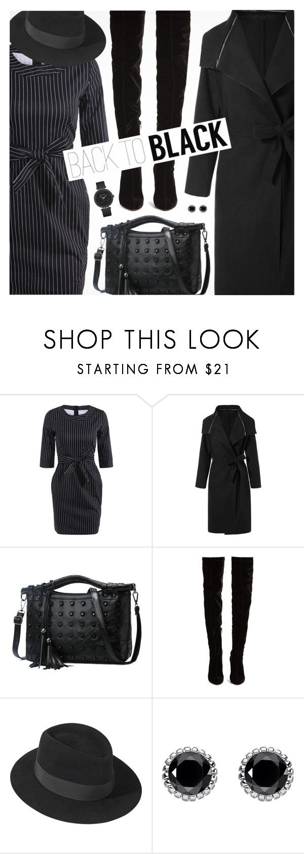 """""""Mission Monochrome: All-Black Outfit"""" by pokadoll ❤ liked on Polyvore featuring Christian Louboutin, Maison Michel, Thomas Sabo and Caravelle by Bulova"""