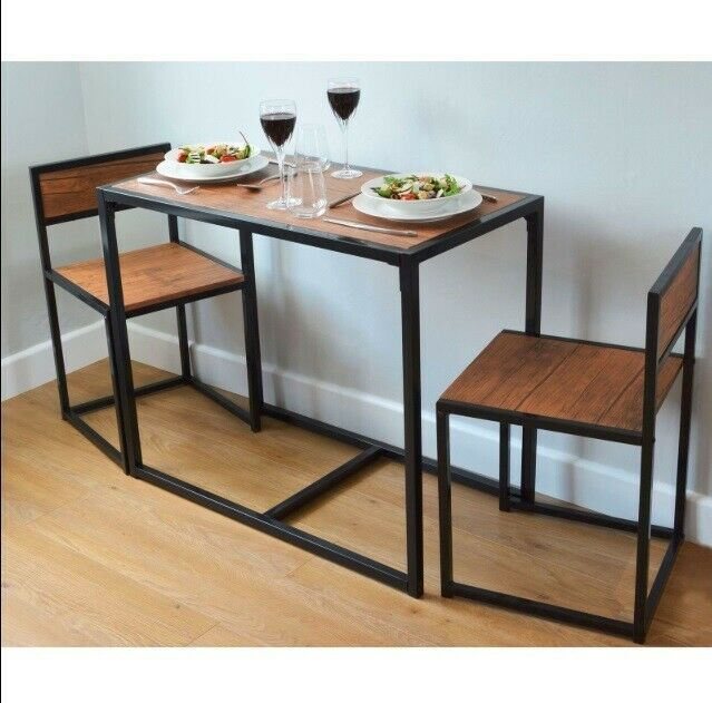 Kitchen Dining Table And 2 Chairs Wooden Vintage Set Industrial Space Saver Room Compact Dining Table Space Saving Kitchen Table Space Saving Dining Table