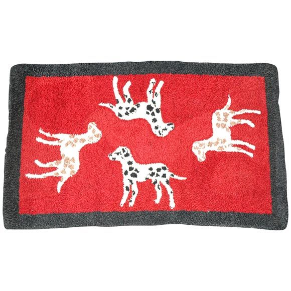1920'S HAND HOOKED  AND MOUNTED PICTORIAL DOGS RUG