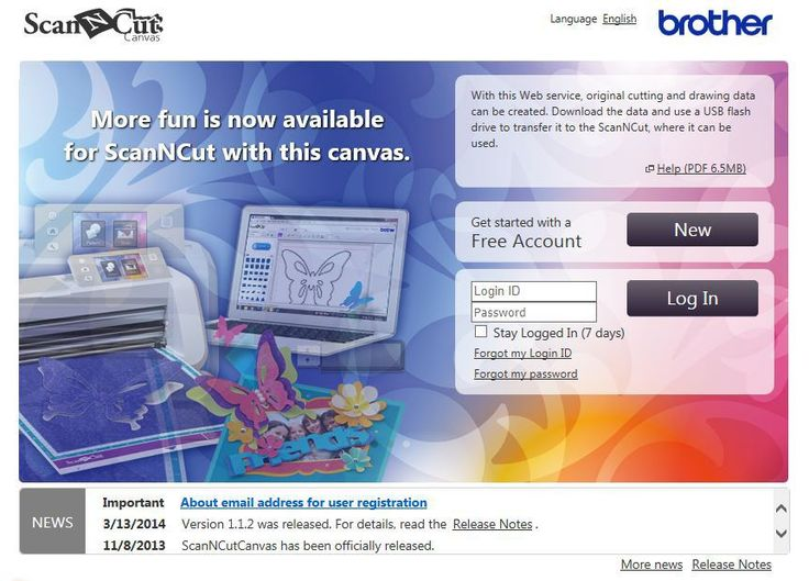 Brother Scan N Cut Canvas Design Suite - Log In Page