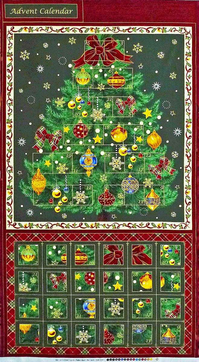 Christmas Tree Advent Calendar Seasons Greetings Quilting Fabric