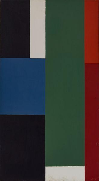 HELGE RØED SKI 1938  Komposisjon, 1978 Olje på lerret, 126x68 cm Initialsignert og datert nede til høyre: HR 78