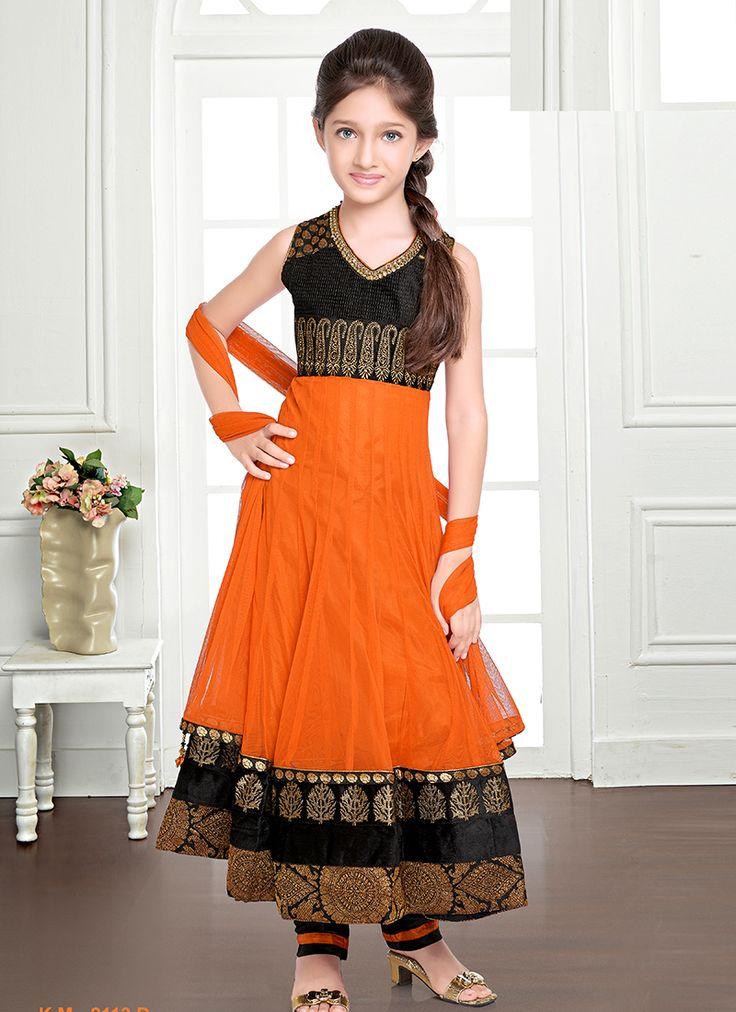 Fantastic Mustard Net Kids Anarkali Salwar Suit