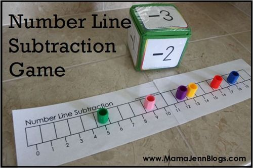 Dice game to play using a number line: we have a GIANT -100 to 100 number line and 20-sided die to play with. To make it more challenging, use two dice--one for adding, and one for subtracting.