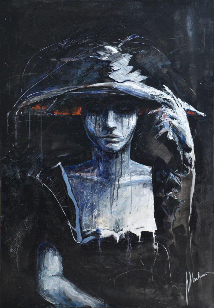 painting by Tomasz Machoń 70x100cm acrylic art dark woman girl mourning face sad
