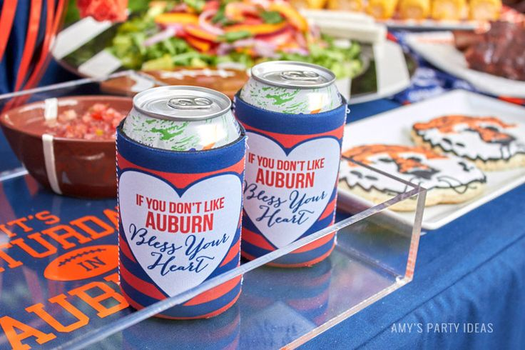 Auburn Coozies | Bless Your Heart | Auburn Football Tailgate Ideas | Saturday down South | Football Tailgating | Football Watch Party | AmysPartyIdeas.com | Swooies.com