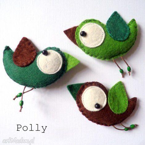 three little birds - przypinki - broszka, ptaszek, filc, komplet, prezent, przypinka