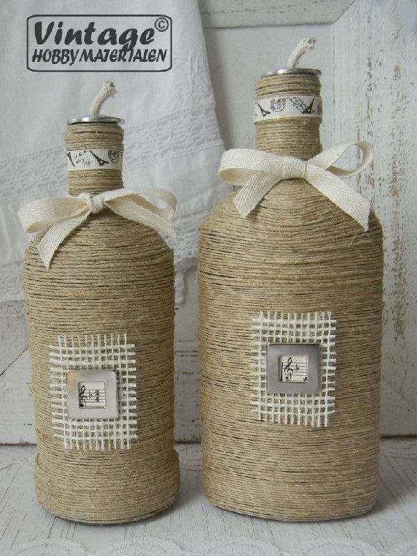 Brocante vintage flessen met stoer hennep touw. Leuk om zelf te maken. Kijk eens in mijn webshop voor alle materialen en een werkbeschrijving.