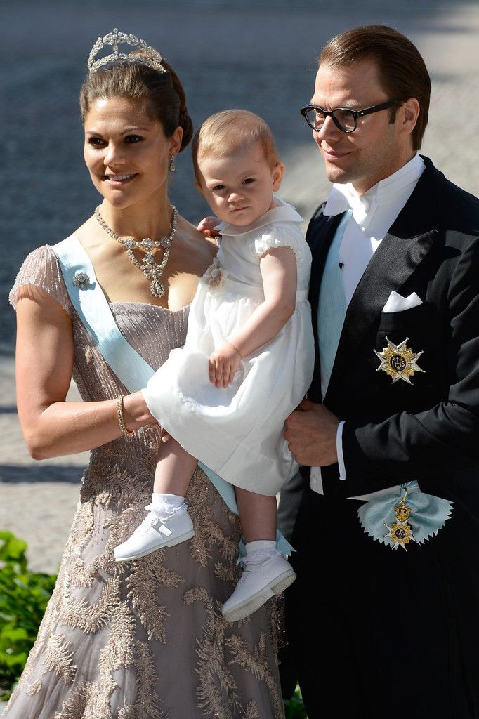 """Crown Princess Victoria of Sweden with Princess Estelle and Prince Daniel arrive at the Royal Chapel, the Royal Palace in Stockholm for the wedding ceremony; wedding of Princess Madeleine of Sweden and mr. Christopher """"Chris"""" O'Neill, June 8th 2013"""