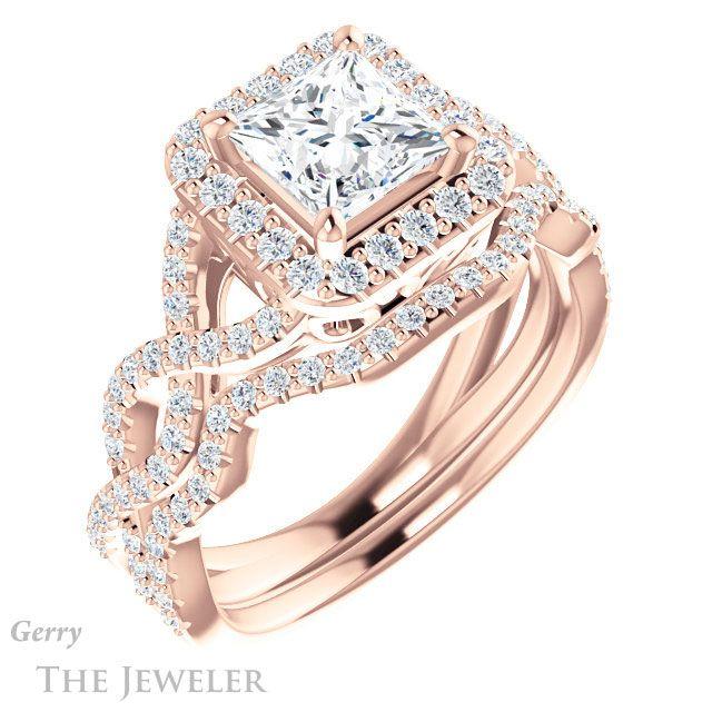 14k Rose Gold Princess Cut Engagement Ring Setting #GTJ1159-square-r | Gerry The Jeweler