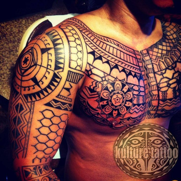 Filipino Tribal Tattoo, This chest and full-sleeve is an amazing piece of trible art. It's a great tribal tattoo design by Treyton Duke.