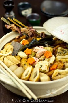 Oden - Japanese simmered hot dish; assorted fish balls, fish cakes,deep fried tofu, hard-boiled eggs and various vegetables simmered in dashi (broth).