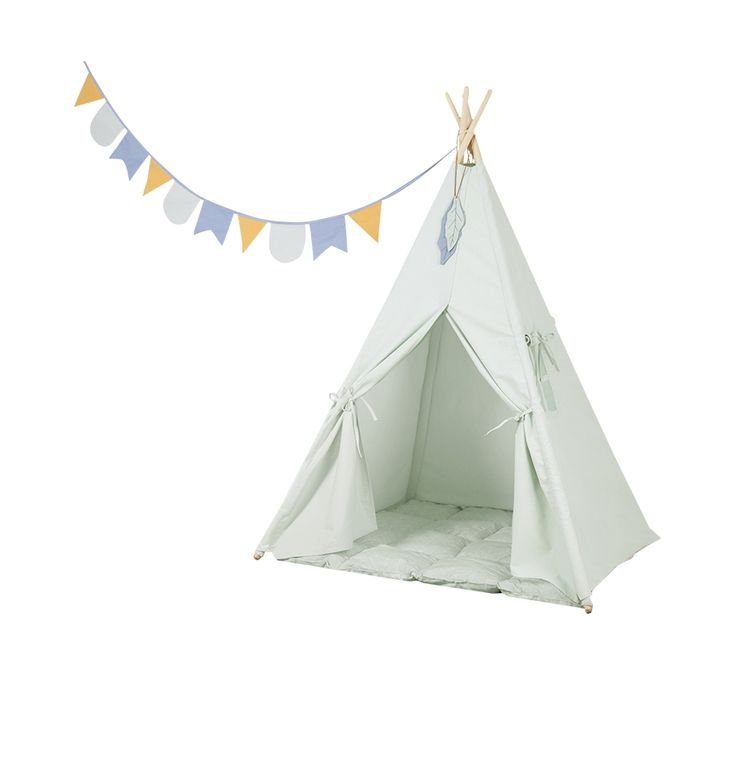 Little Dutch Tipi Mint    This tipi has a window on one side and comes with a playmat, feathers and a colourfull garland.    #littledutch #tipi #wigwam #mint #pastel #vlue #okergeel #oker #kids