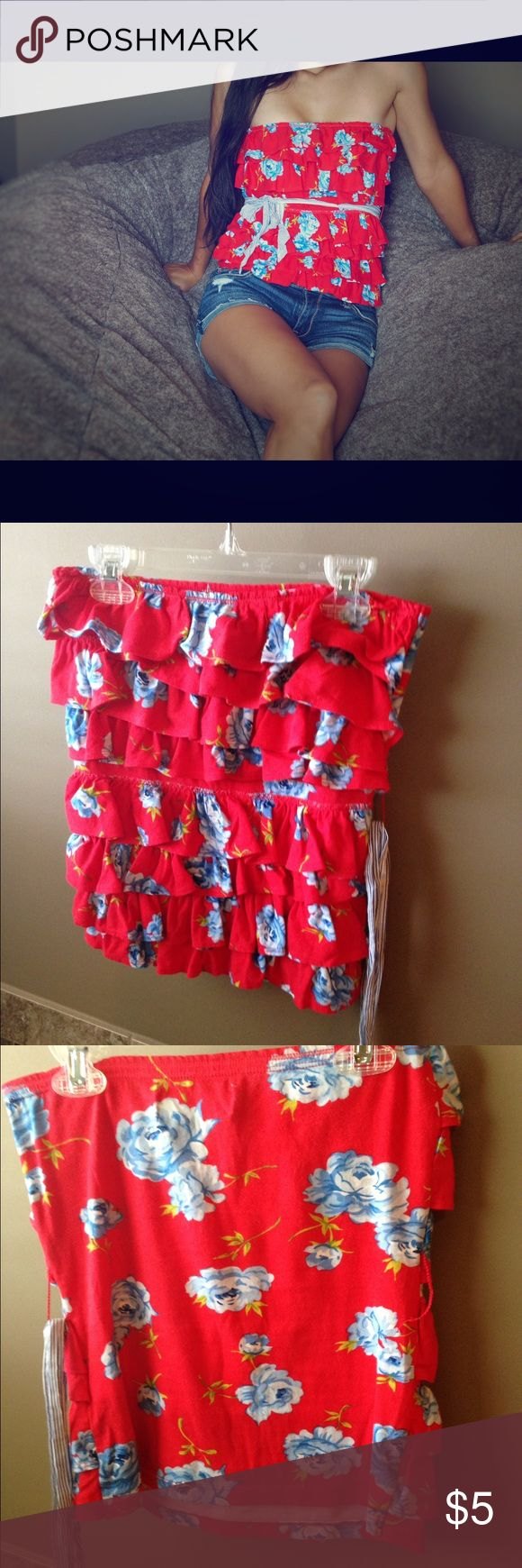 Abercrombie & Fitch strapless floral top Cute red floral strapless top with removable ribbon just under the bust. Flirty frills layer the front. Easily paired to make many cute outfits. Abercrombie & Fitch Tops Blouses