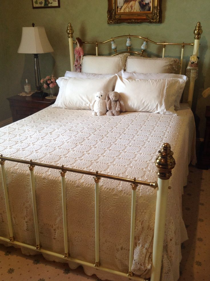 ELMS-HAVEN. Maggie Taylor's house & garden. The master bedroom. We bought our bed for $25AUS. It was in a bit of a state but my hubby got to work on it and now it looks fantastic with cream & white linen for the Summer.
