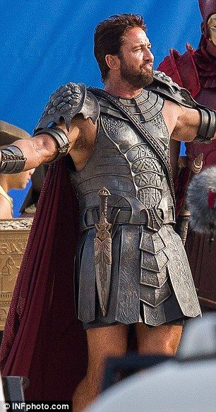 First look: Gerard Butler is seen in full gladiator costume filming scenes for Gods Of Egypt in Sydney on Tuesday, May 27, 2014