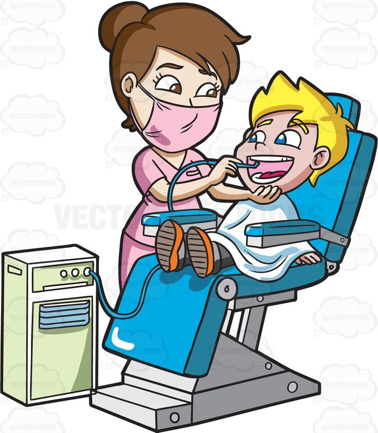 A happy boy getting his teeth cleaned at the dentist #cartoon #clipart #vector #vectortoons #stockimage #stockart #art