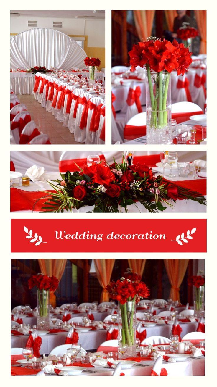 Svadobná výzdoba z červených amarylisov. #svadba #cervenavyzdoba #amarylis #wedding #weddingdecorations #red #slovakia #kvetyexpres