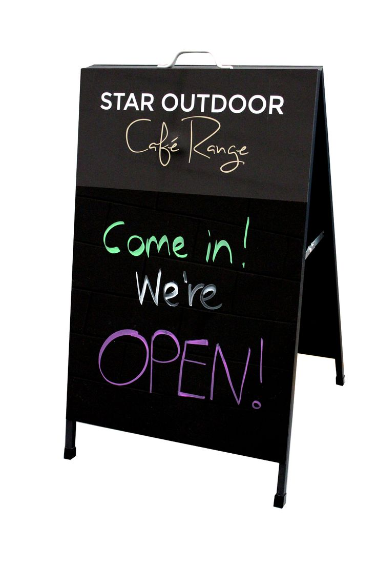 Black board A-Frame. These are designed to be sturdy and durable, and messages can be changed quickly and easily. Perspex is used and also our A-frames are available for writing with liquid chalk, we make it EASY for you to give your personal messages to the passers by.