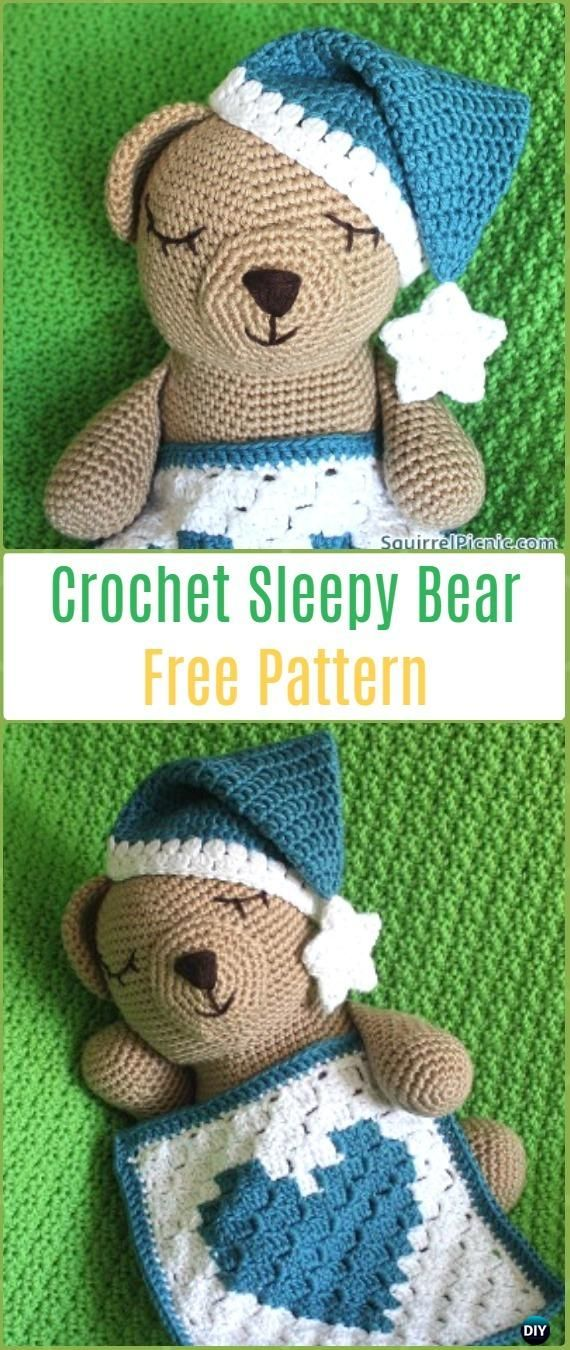 Amigurumi Crochet Sleepy Bear Free Pattern - Amigurumi Crochet Teddy Bear Toys Free Patterns