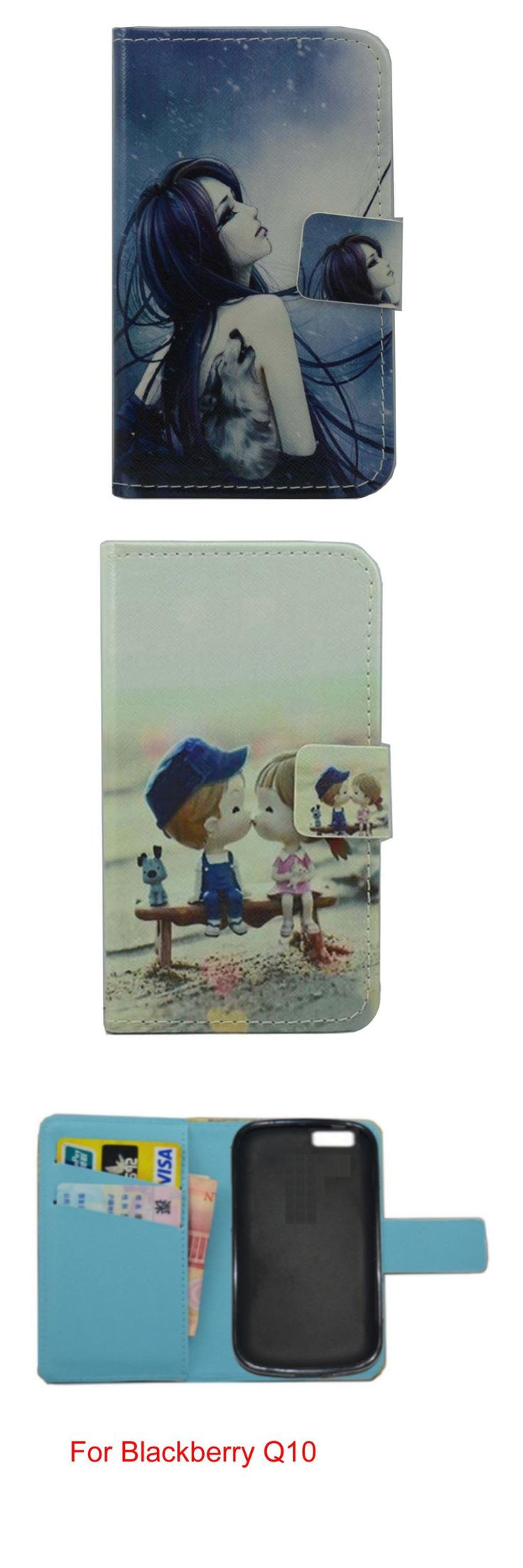 For Blackberry Q10 lovely Cartoon pu leather wattet cell phone cover case with free gifts mini stylus