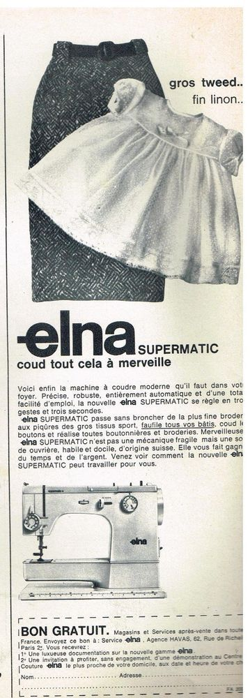 Publicité Advertising 1966 La machine à coudre Elna