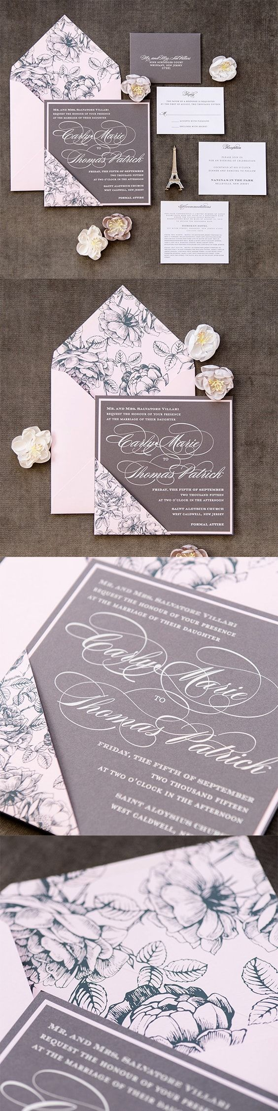 Floral Pattern Wedding Invitation by engagingpapers Carly