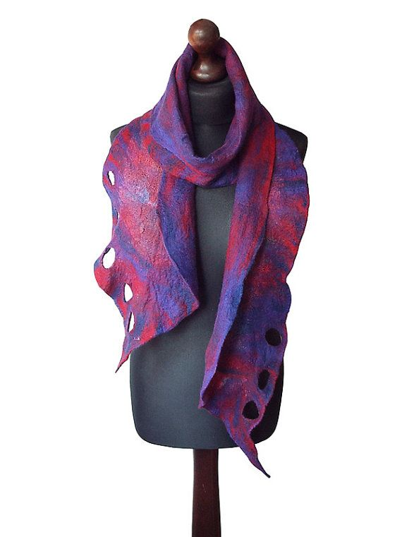 Felted scarf made from finest Australian merino wool and hand dyed cotton gauze…