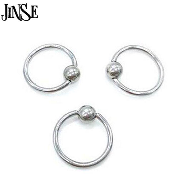 JINSE BDJ030 5 יחידות חישוק פלדה כירורגית פירסינג כדור סגירת טבעת עבור אוזן גבות האף שפתיים פטמה זהב עלה כדור גוף תכשיטי