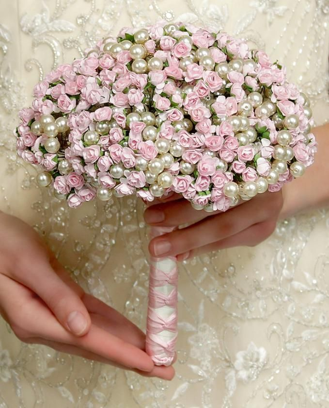 Wedding Flowers - Bridal Bouquet of Pink Paper Roses and Pearl Beads