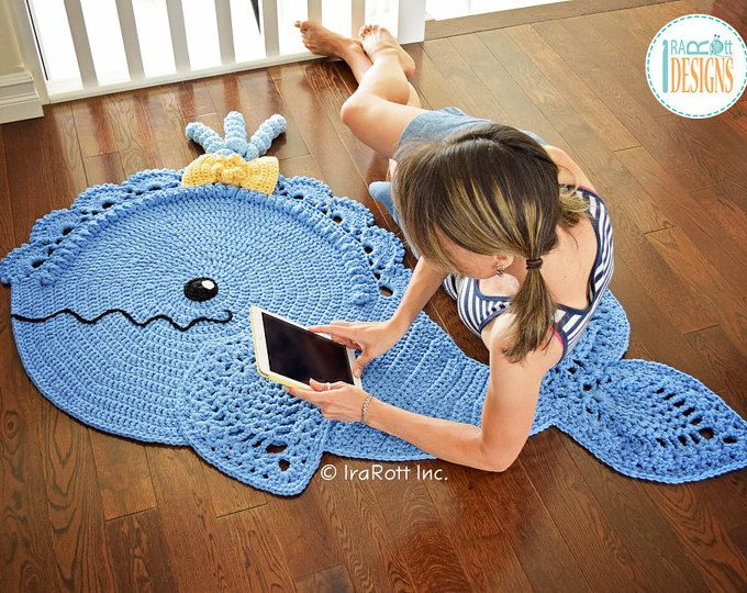 CROCHET PATTERN Joyce and Justin Whale Rug Nursery Mat Carpet PDF Crochet Pattern with Instant Download