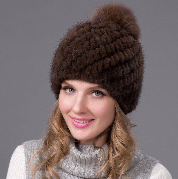 Женская шапка из натуральной норки