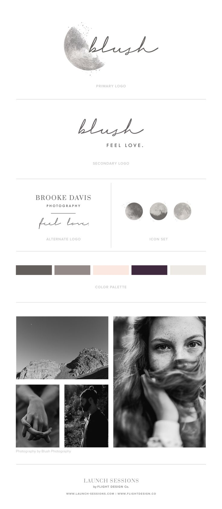 Brooke came to us wanting a brand that felt emotional, real and moody. She had been daydreaming of incorporating the moon but wanted to embrace the shadows as much as the light.   Logo, Branding & Style Guide by Launch Sessions of Flight Design Co.