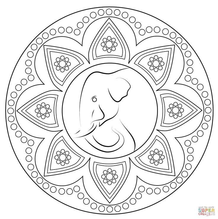 mandala elephant coloring pages easy - photo#22
